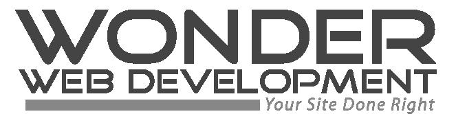 wonder web development text logo