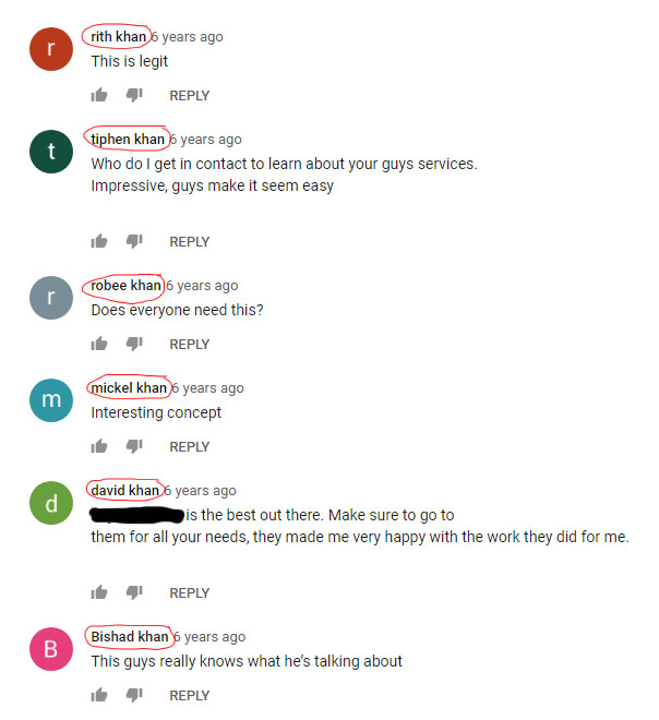 Bot comments on YouTube